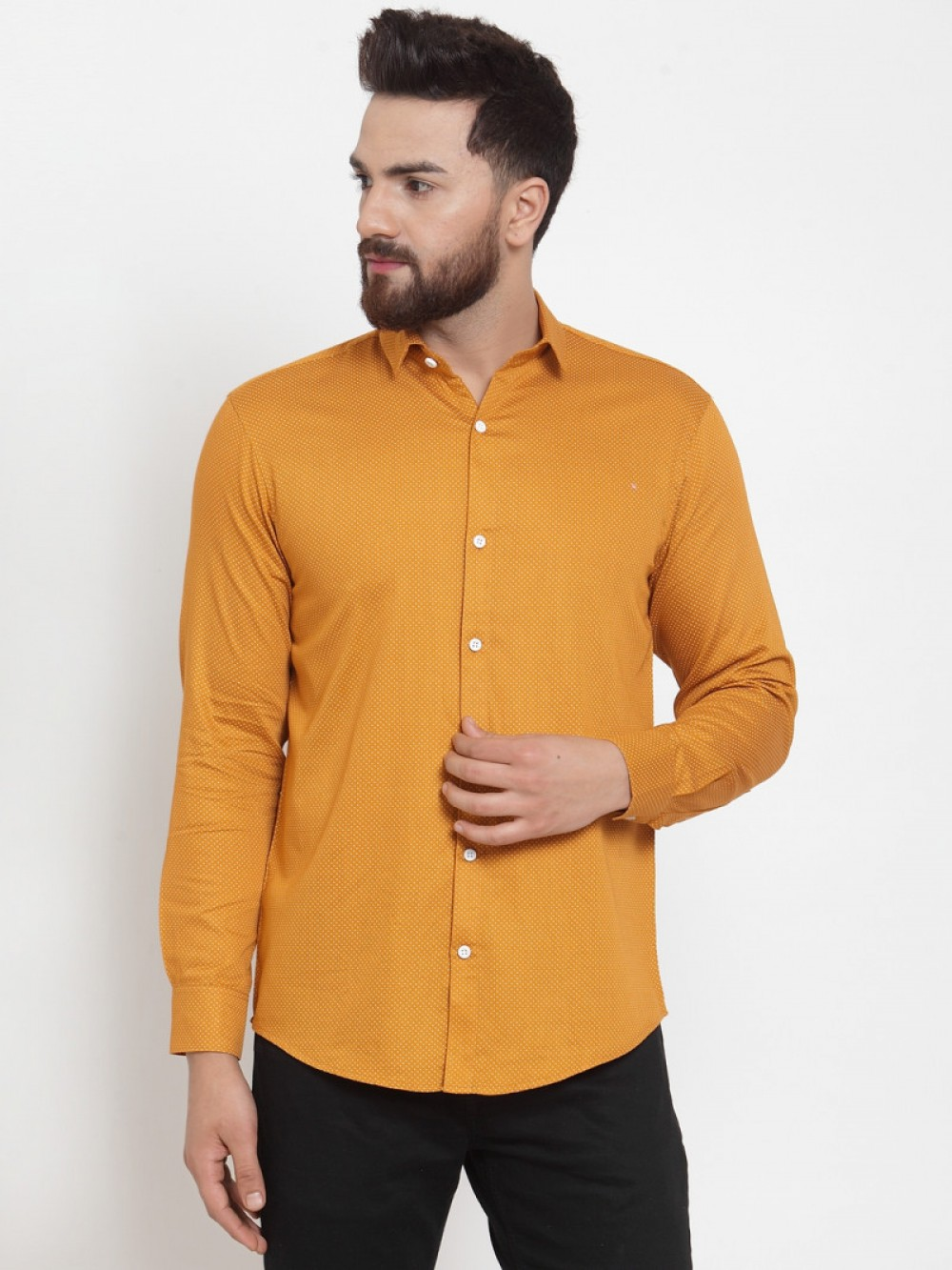 Yellow Color Small Dott Wear Shirt
