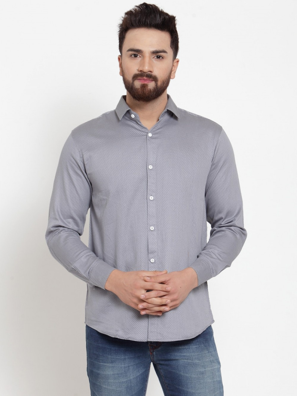 Attractive Grey Color Small Dott Formal Wear Shirt