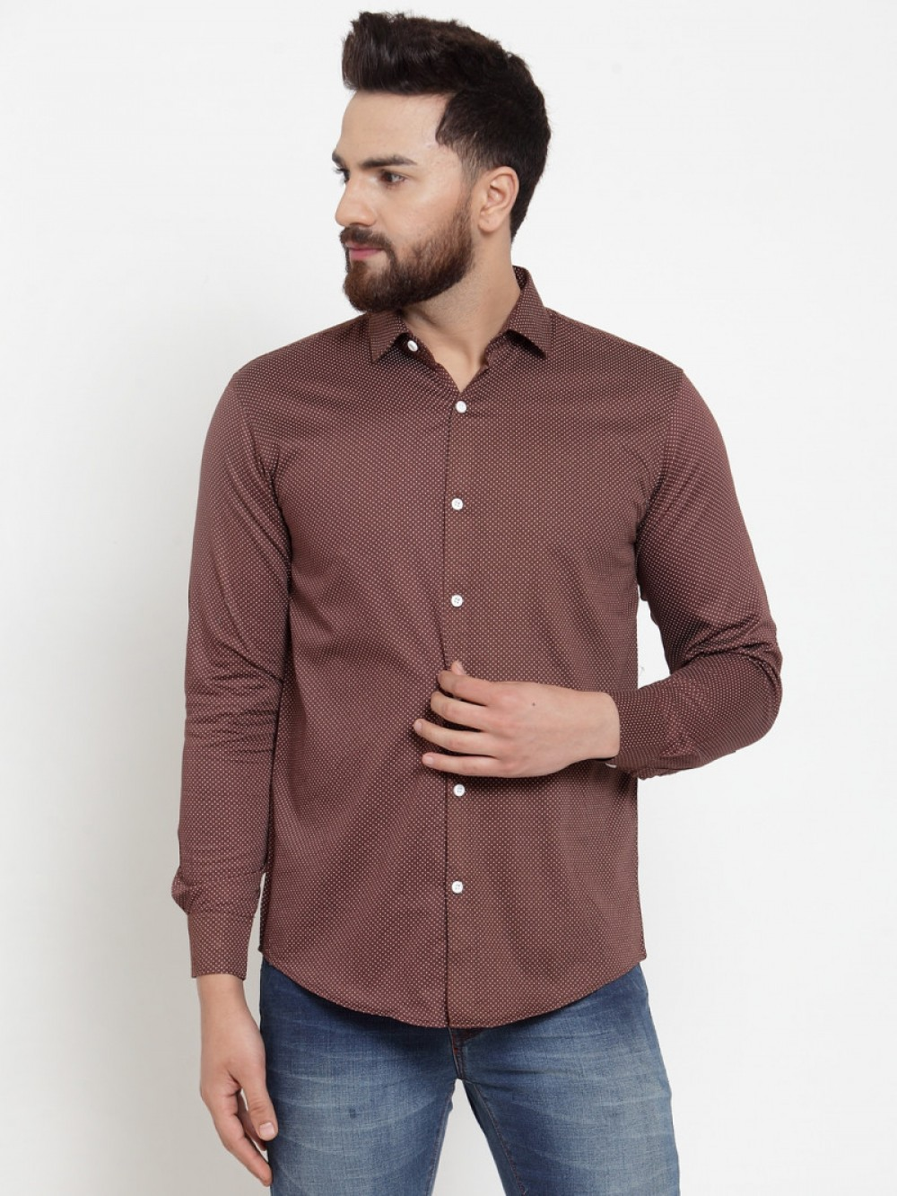 Brown Color Small Dott Shirt