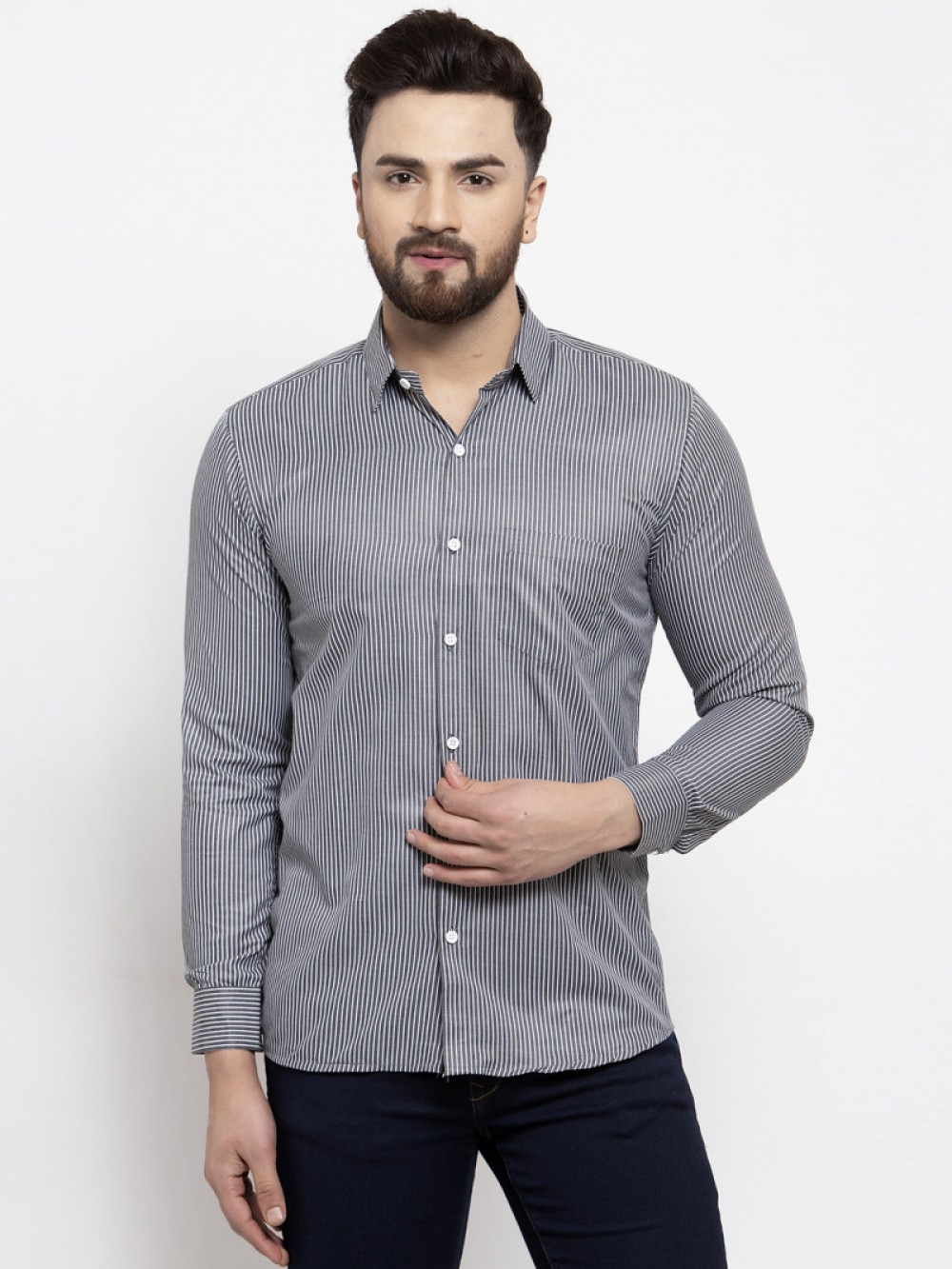 Small Lines Verticallly Grey Color Wear Shirt