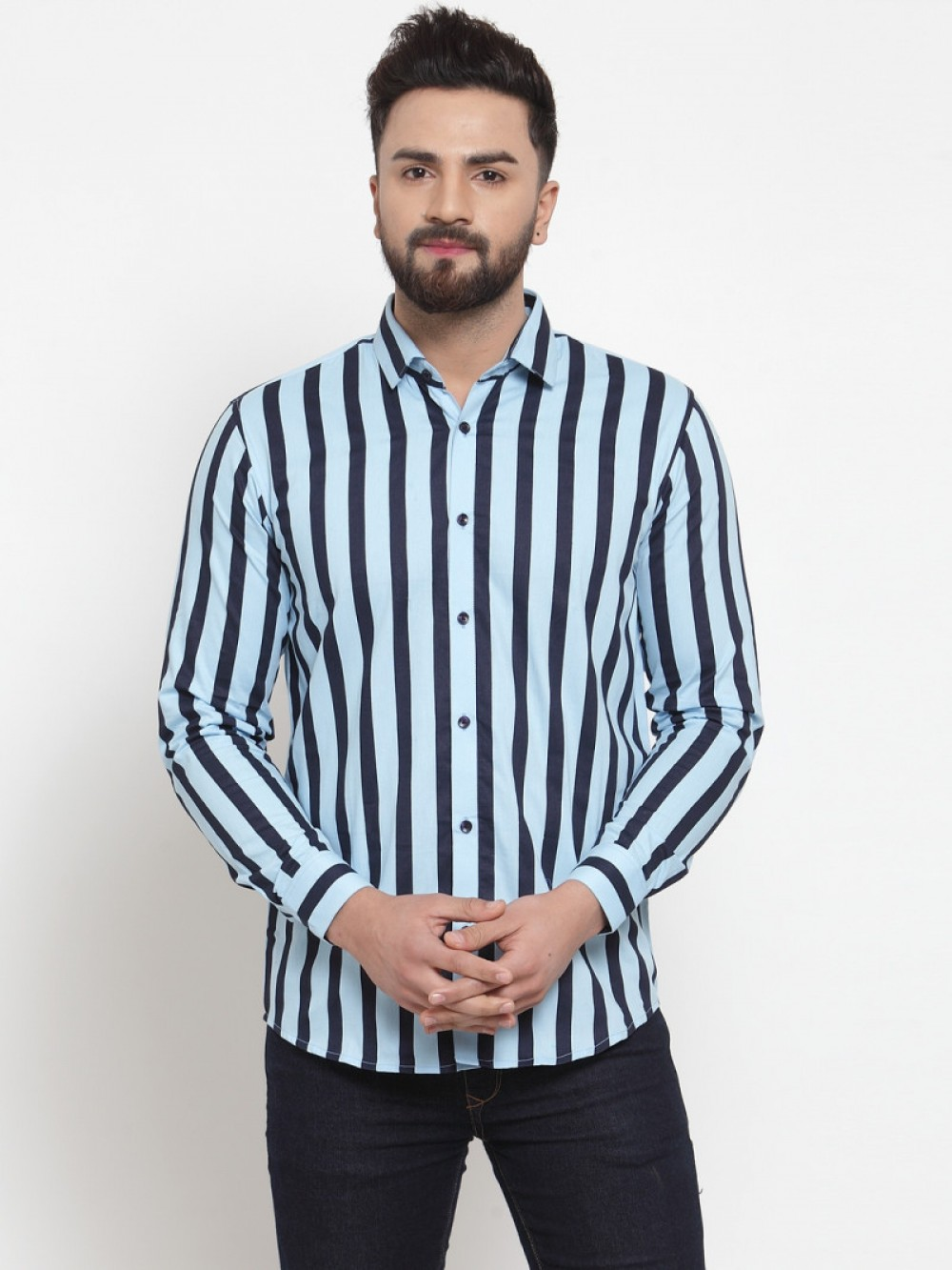 Light Blue With Black Striped Wear Shirt