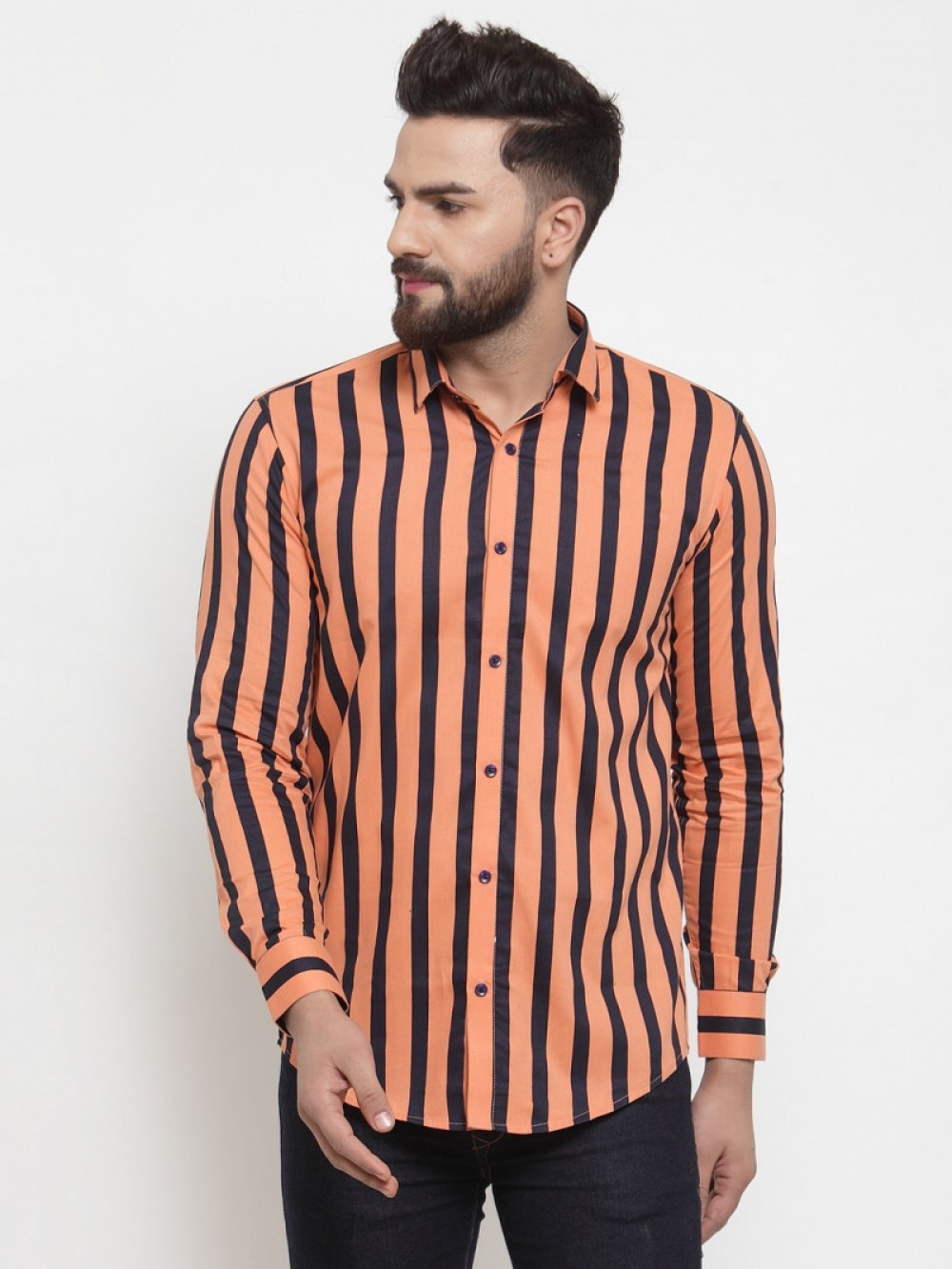 Attractive Orange Color With Small Black Striped Wear Shirt