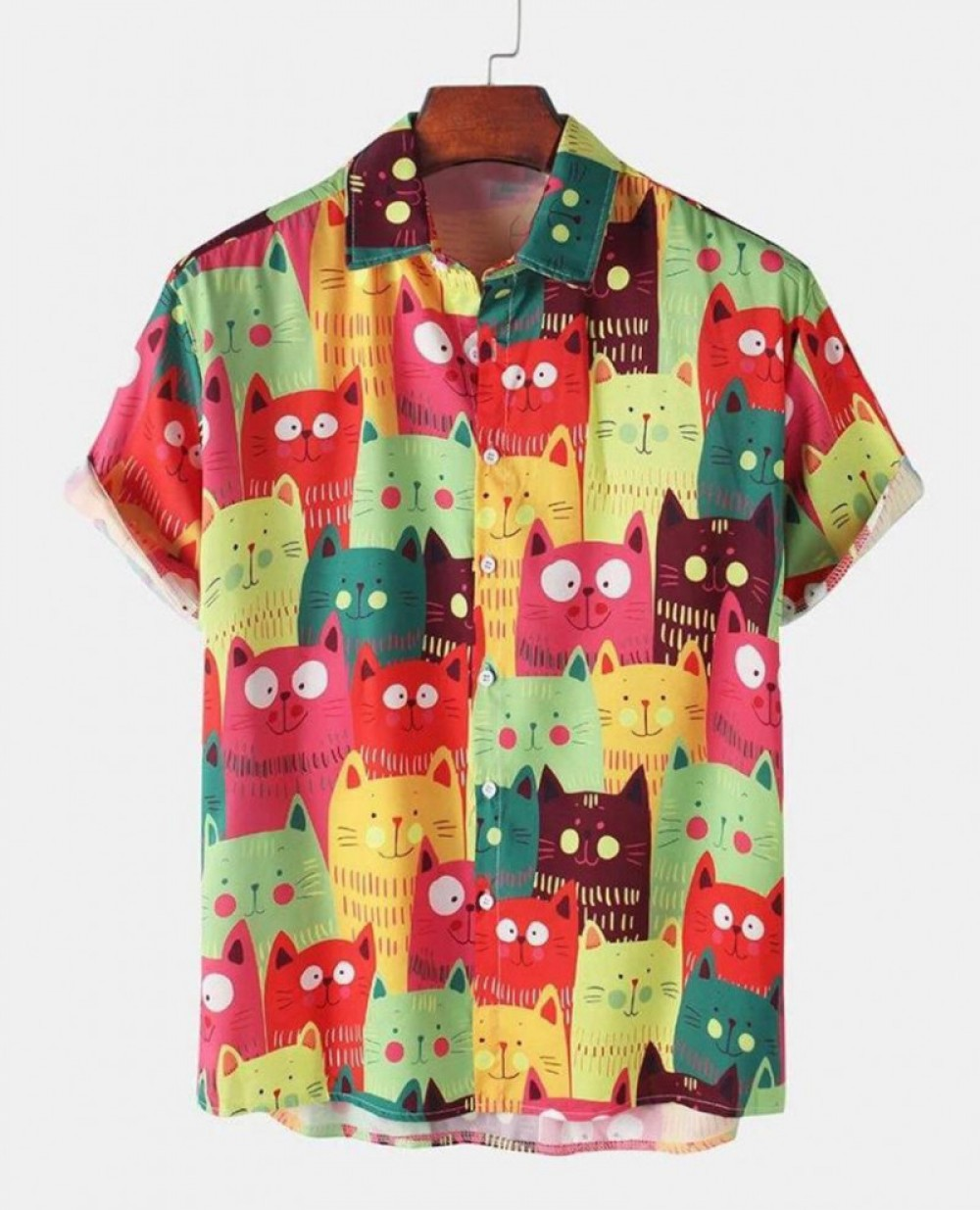 Funny Colourfull Cat Half Sleeve Shirt