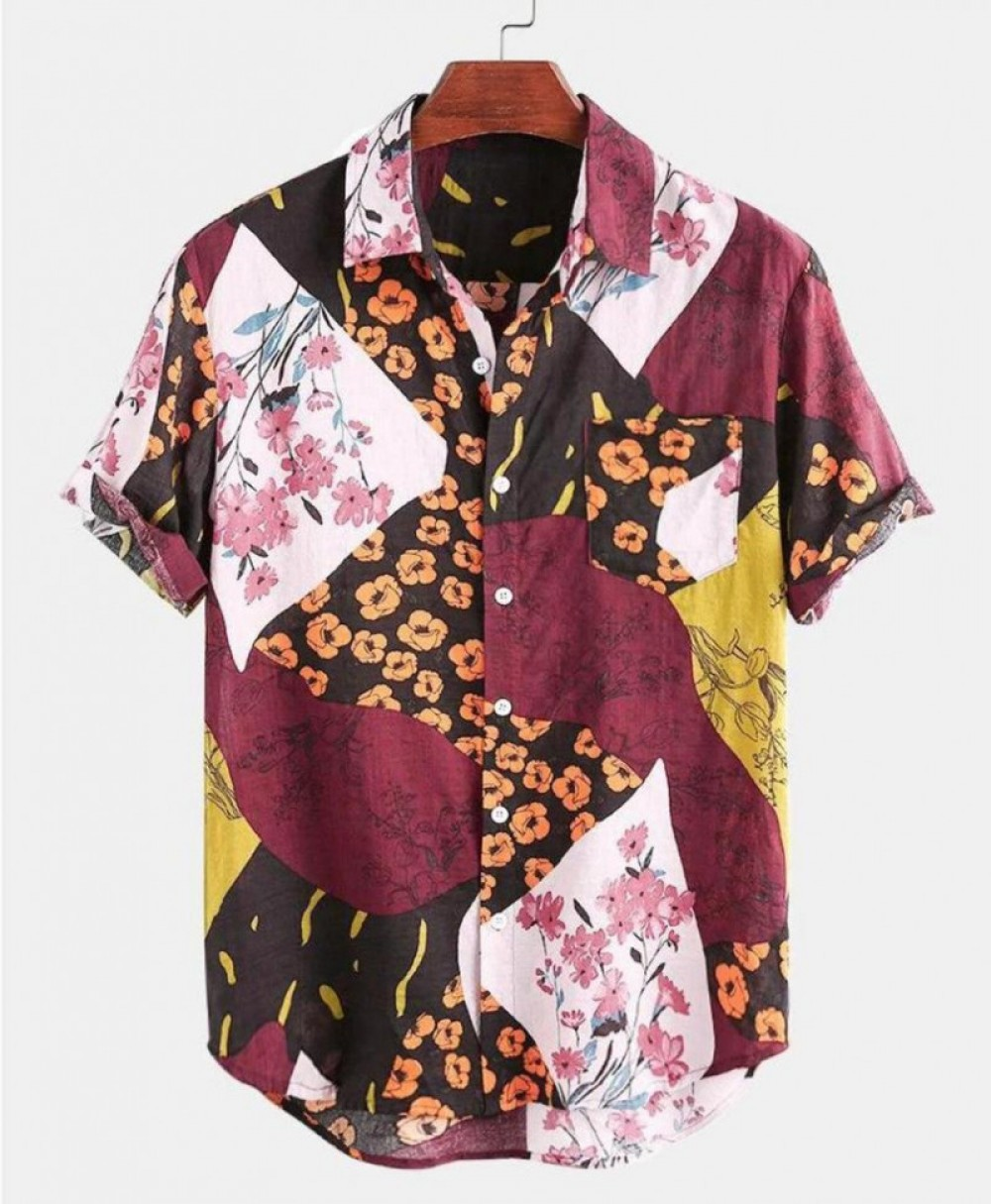 Multicolor Flower Floral Half Sleeve Shirt