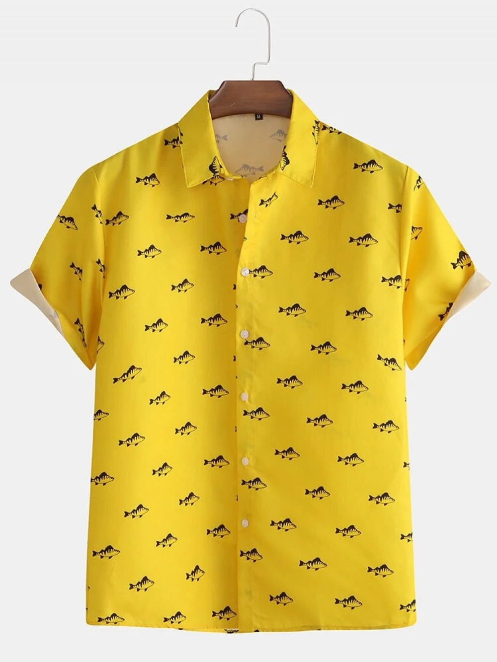 Yellow Color Fish Half Sleeve Shirt