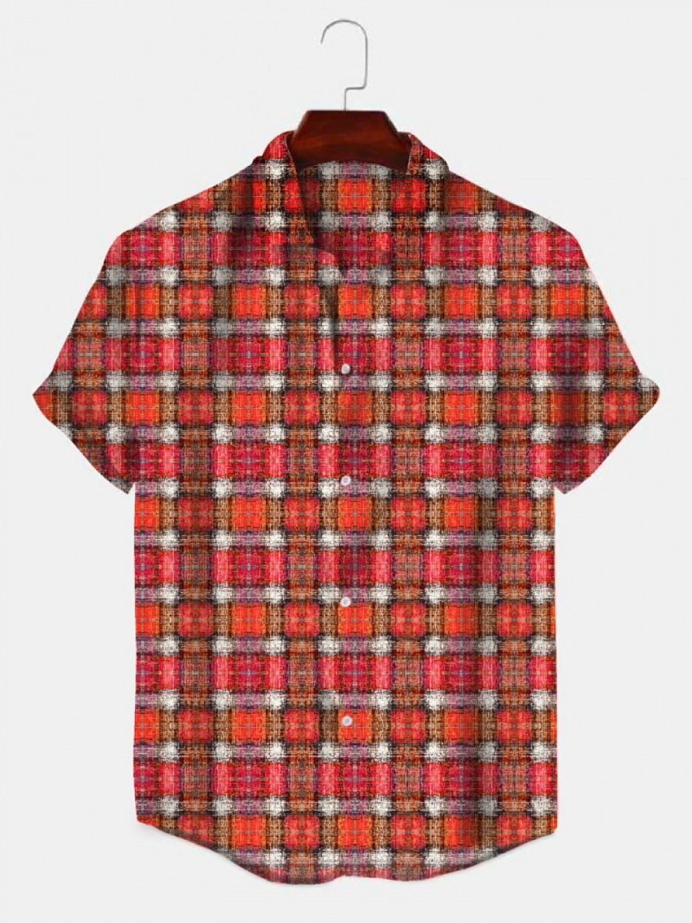 Red And White Color Checks Half Sleeve Shirt