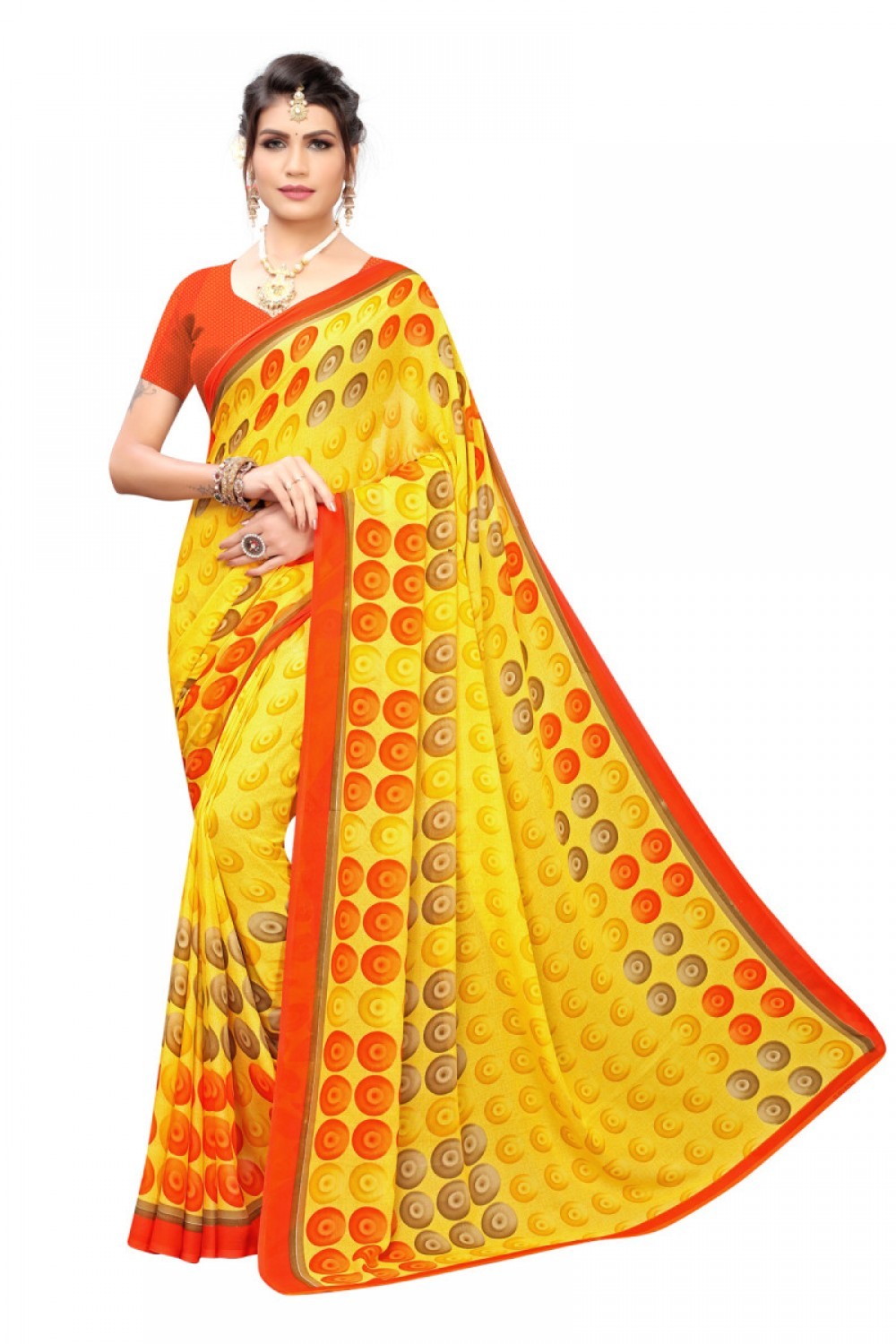 Good Looking Fancy Yellow Color Printed Saree