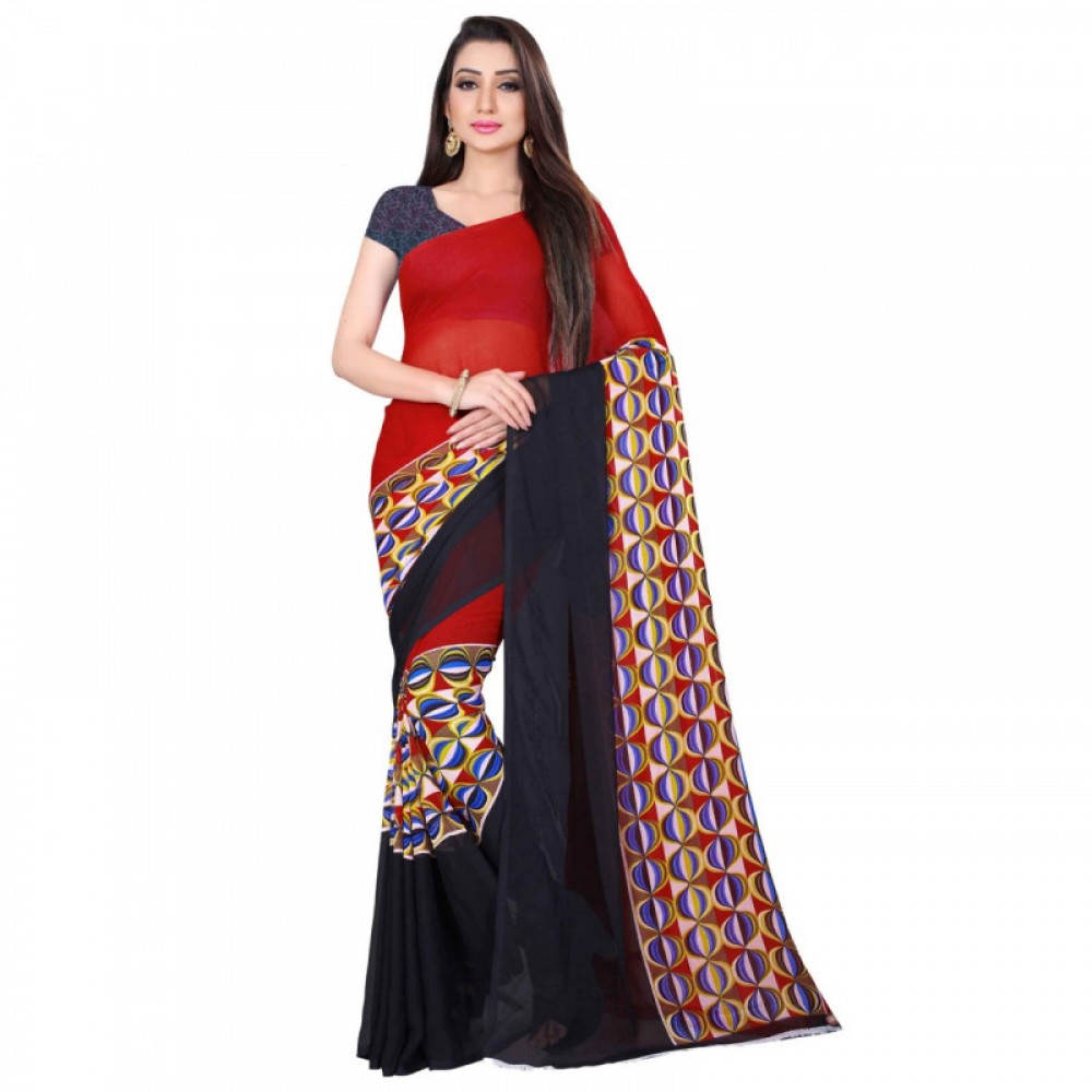 Beautiful Red And Black Coloured Colour Faux Georgette Saree