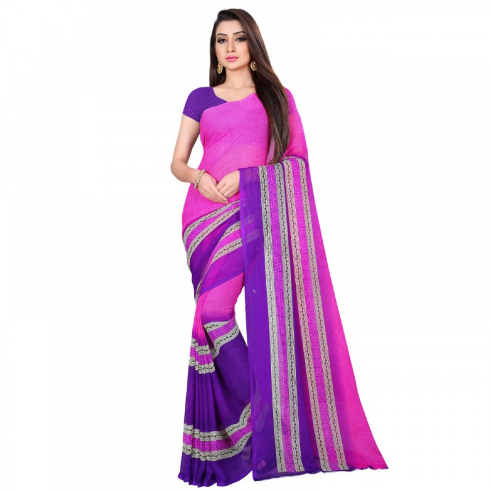 Blissful Light Purple Coloured Colour Faux Georgette Saree