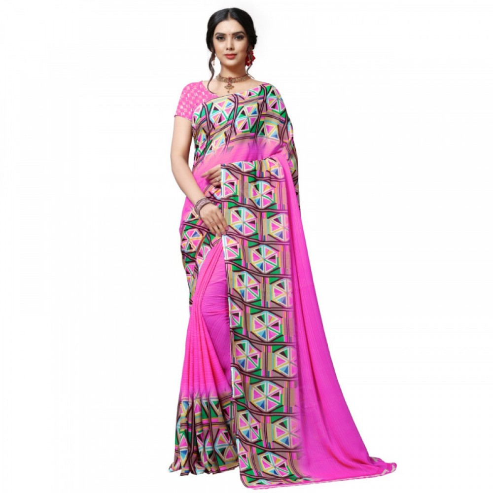 Engrossing Pink Colour Bold Gravity Faux Georgette Saree