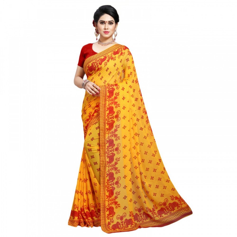Fancy Yellow Coloured Colour Culture Red Colour Faux Georgette Saree
