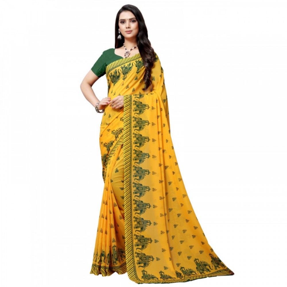 Fashion Design Yellow Coloured Colour Maharaja Green Colour Faux Georgette Saree