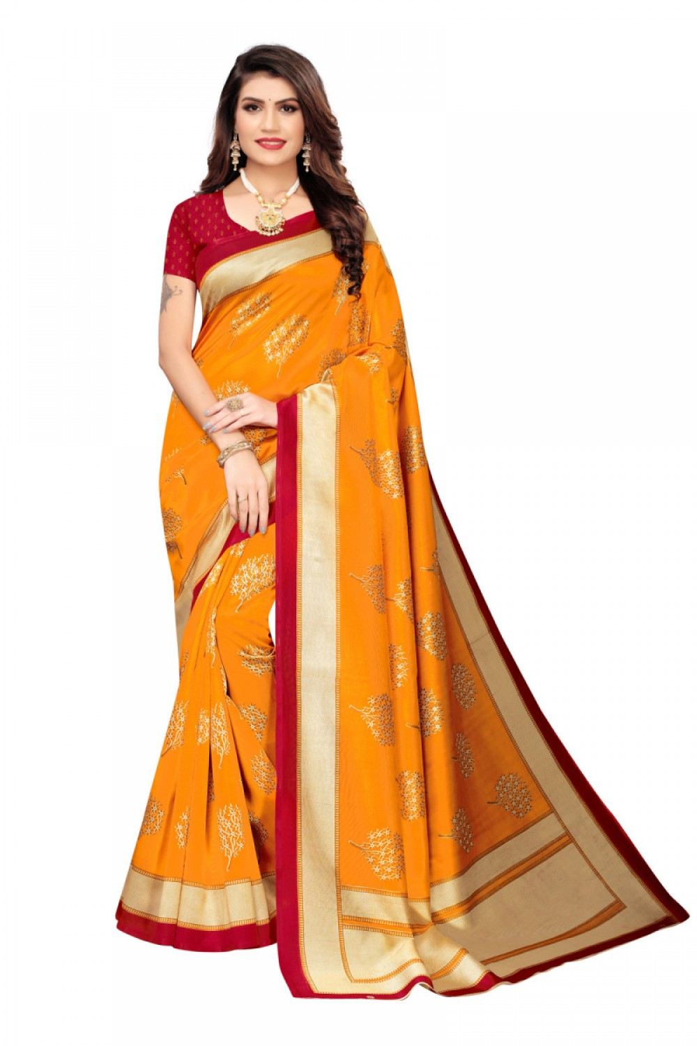 Engrossing Orange Colour   Red Colour Casual Wear Denting Saree
