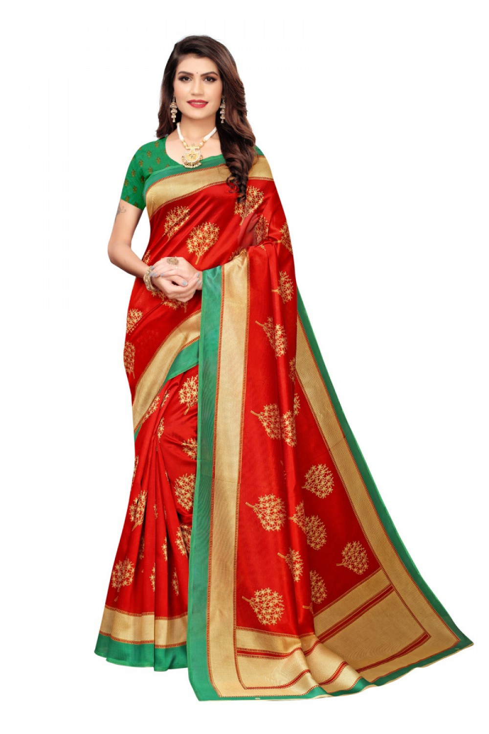 Exellent Green Colour   Red Colour Casual wear Denting saree