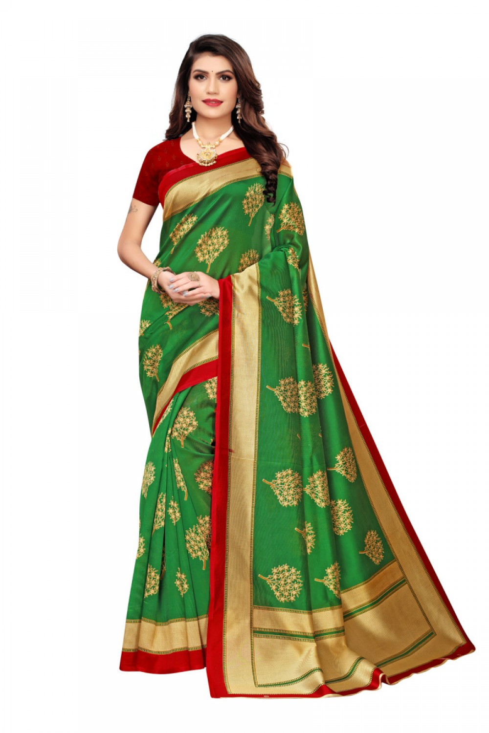Eye catching Green Colour   Maroon Casual Wear Denting Saree