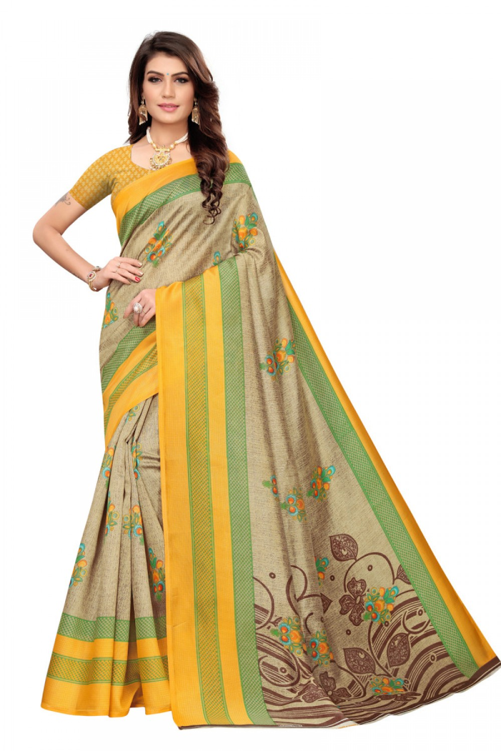Flattering Yellow Colour   Brown Colour Casual wear Denting saree