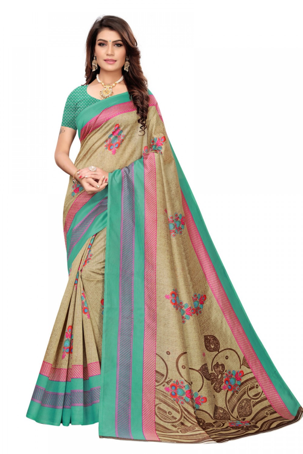 Glossy Green Colour   Brown Colour Casual wear Denting saree
