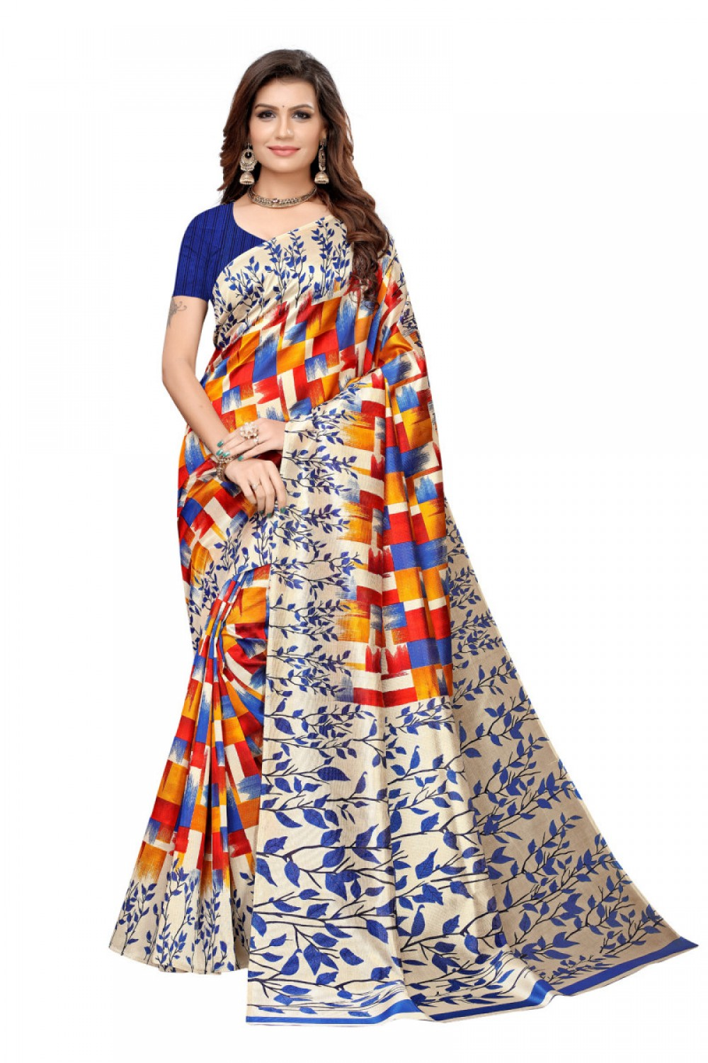 Meticulous Multi Colour Casual wear Denting saree
