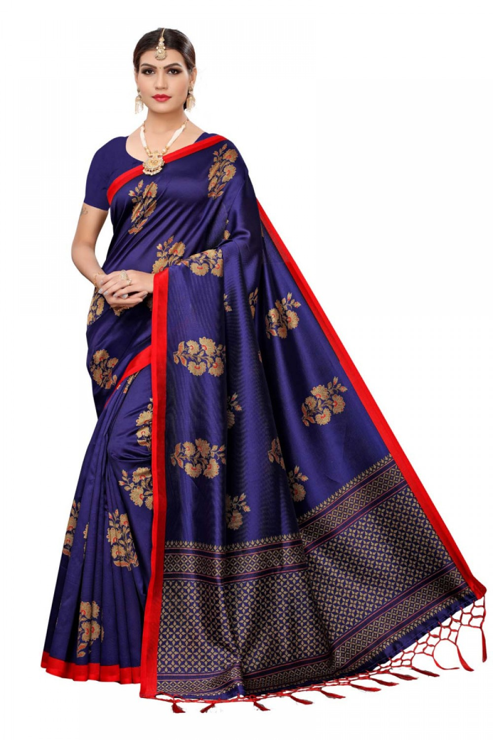 Simple Dressing with Lovely Navy Blue Colour Festive Wear Maysor Saree