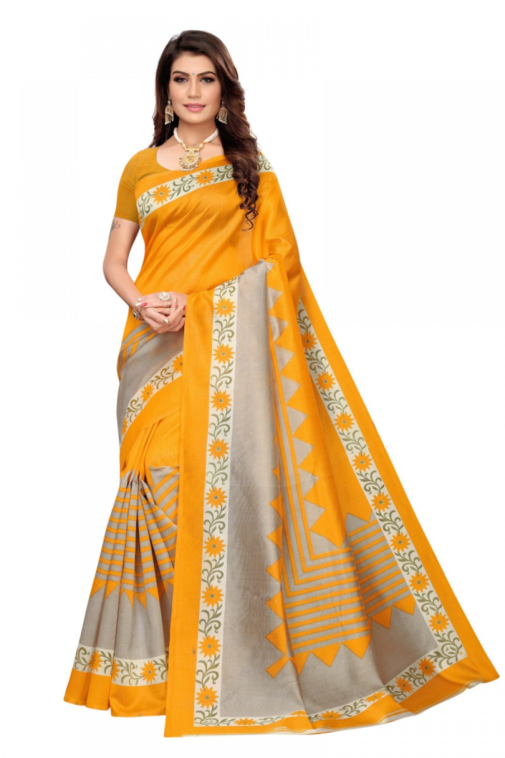 Simple Yellow Colour Casual Wear Denting Saree