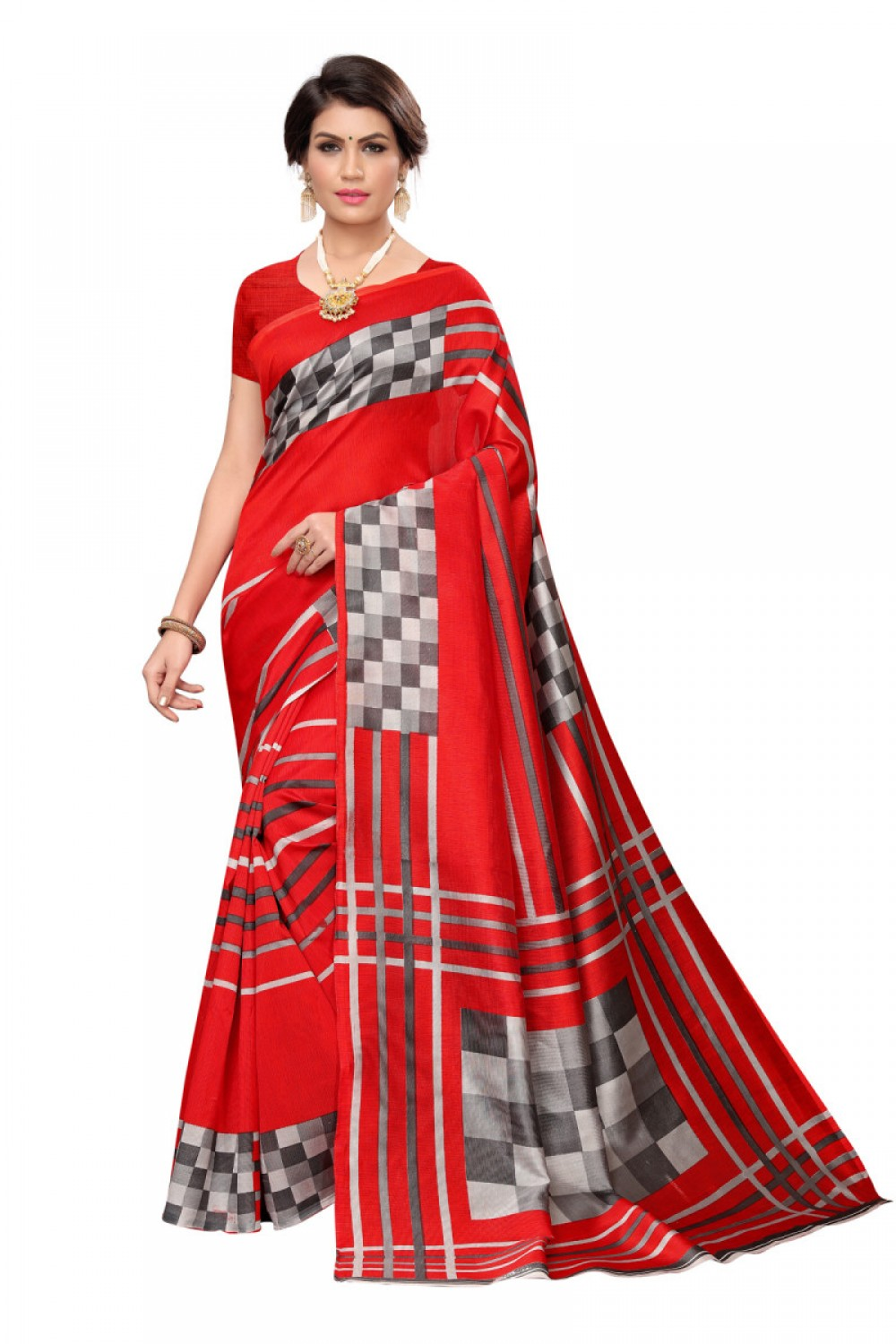 Admiring Red Colour Casual wear Denting saree
