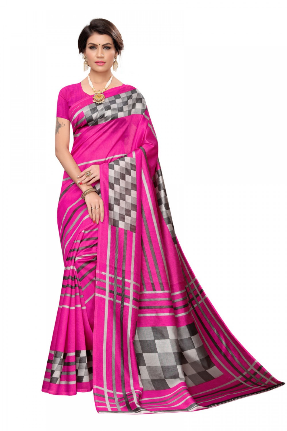 Adorable Pink Colour Casual wear Denting saree
