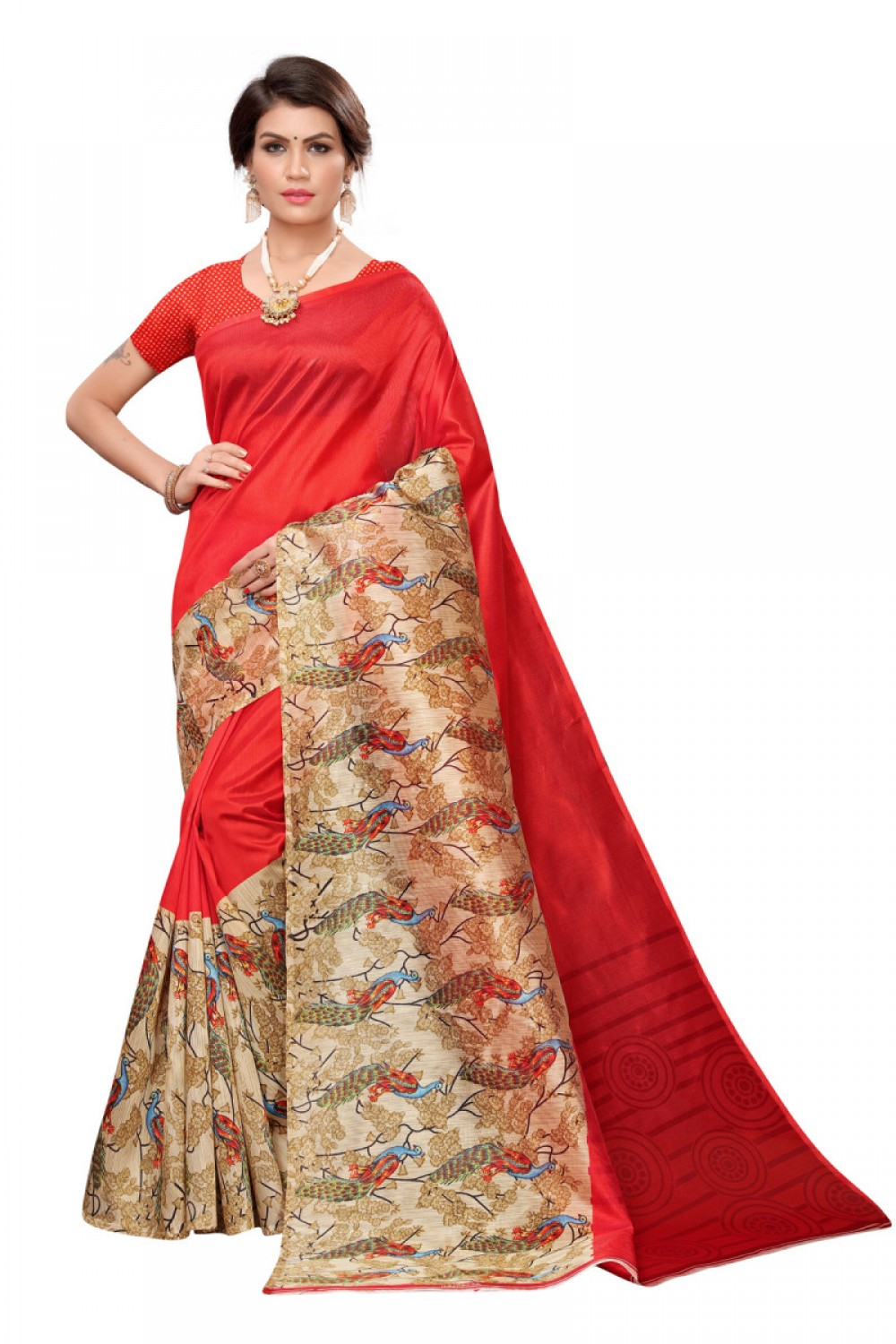 Adoring Red Colour Casual wear Denting saree