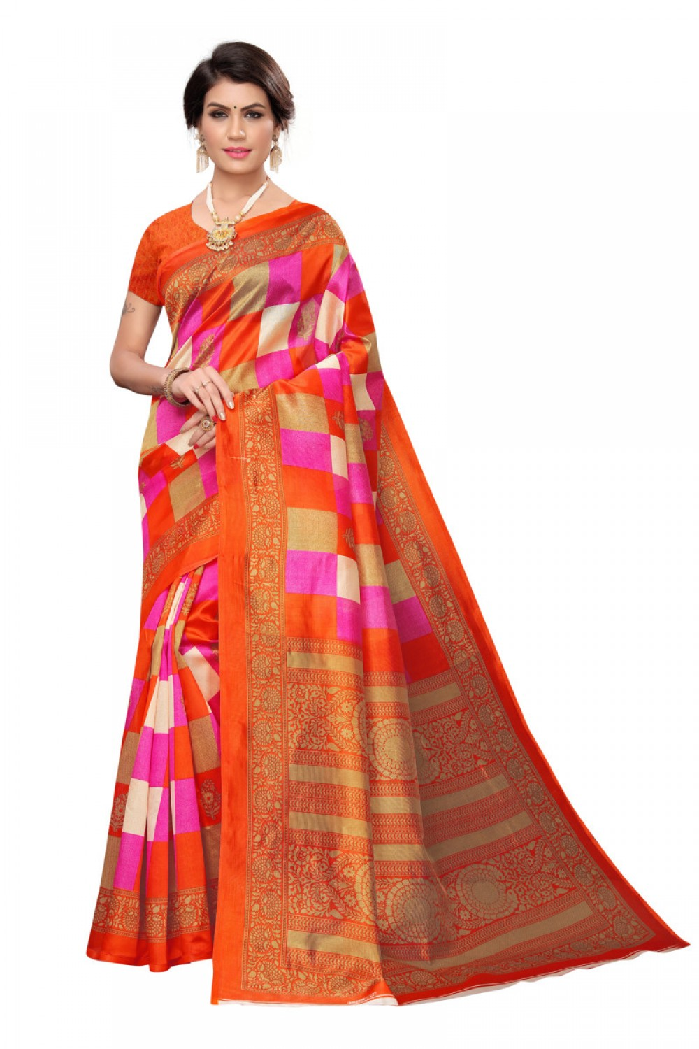 Alluring Orange Colour Pink Colour Casual wear Denting saree