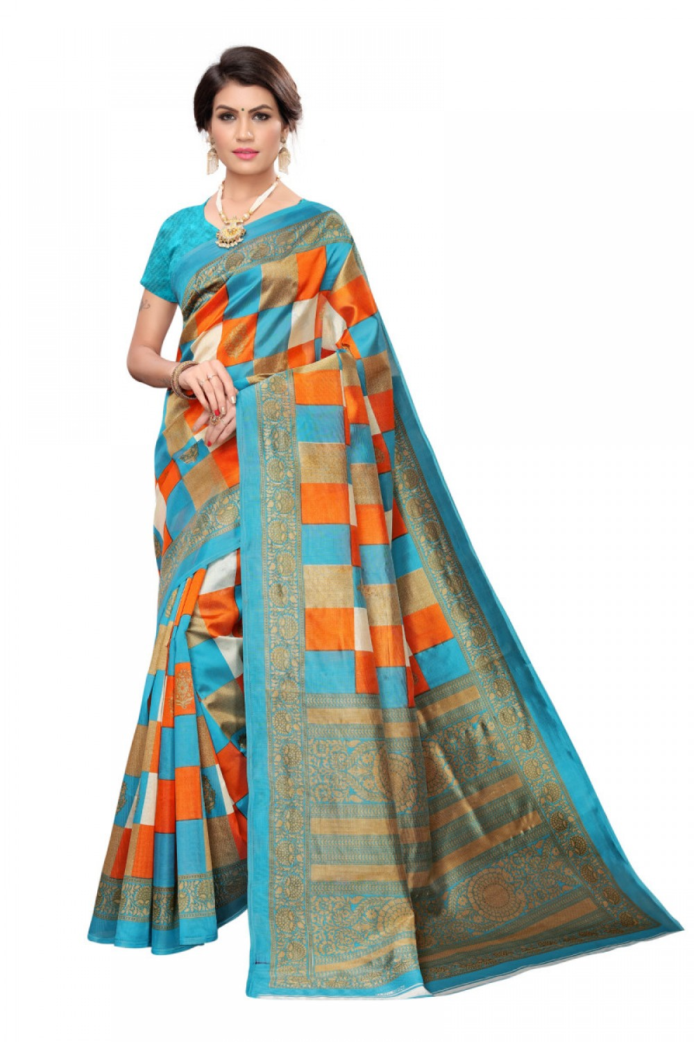 Appealing Sky Casual wear Denting saree