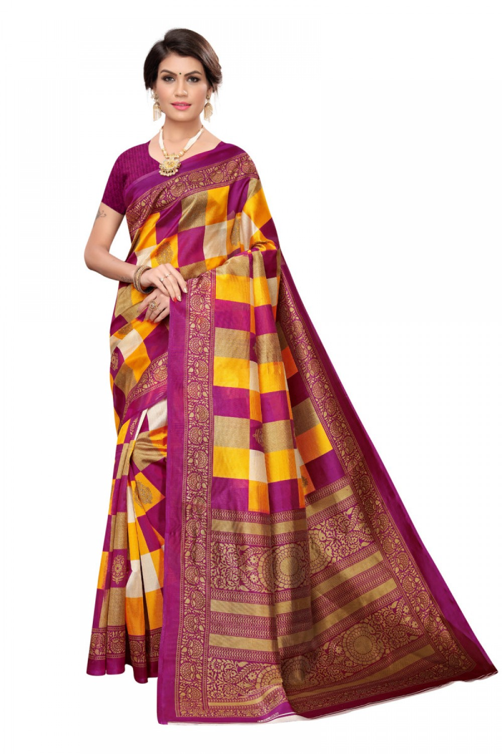 Attarctive Purple Colour Casual wearDenting saree