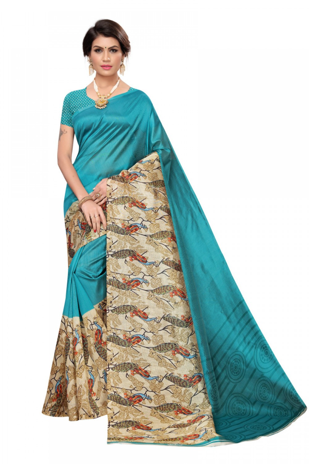 Beautiful Sky Casual wear Denting saree