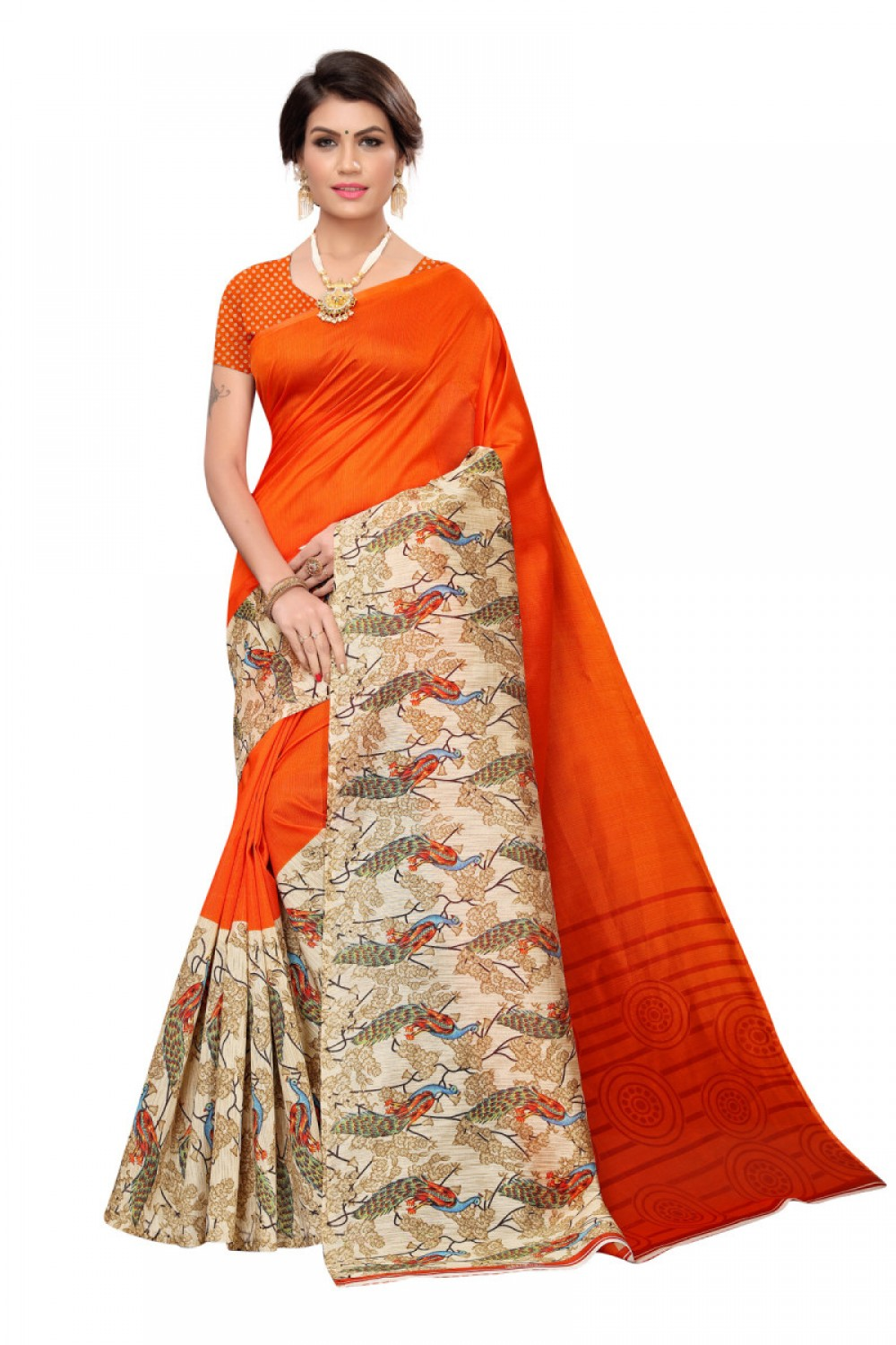 Blissful Orange Colour Casual wear Denting saree