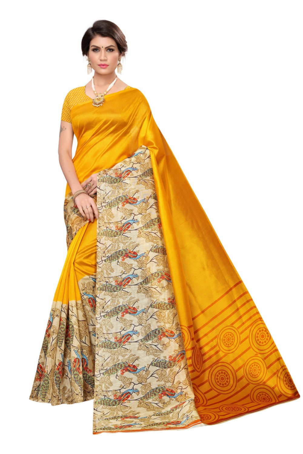Blushing Yellow Colour Casual wear Denting saree