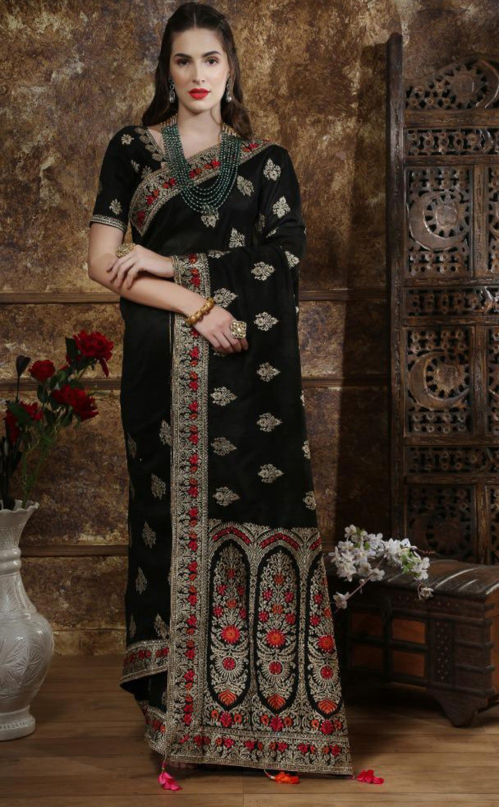 Stylee Lifestyle Casual Wear Black Colour Silk Fancy Saree Blouse