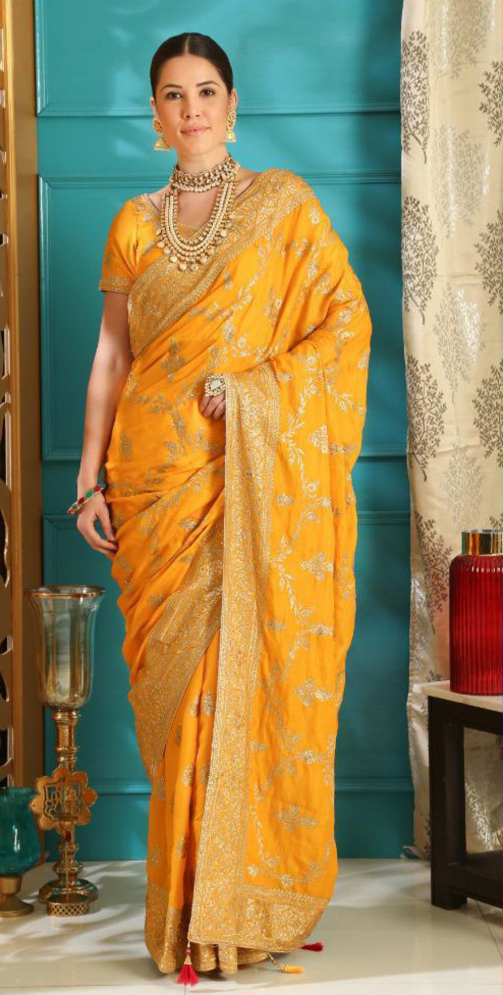 Wonderful Trendy Yellow Colour Indian Silk Saree