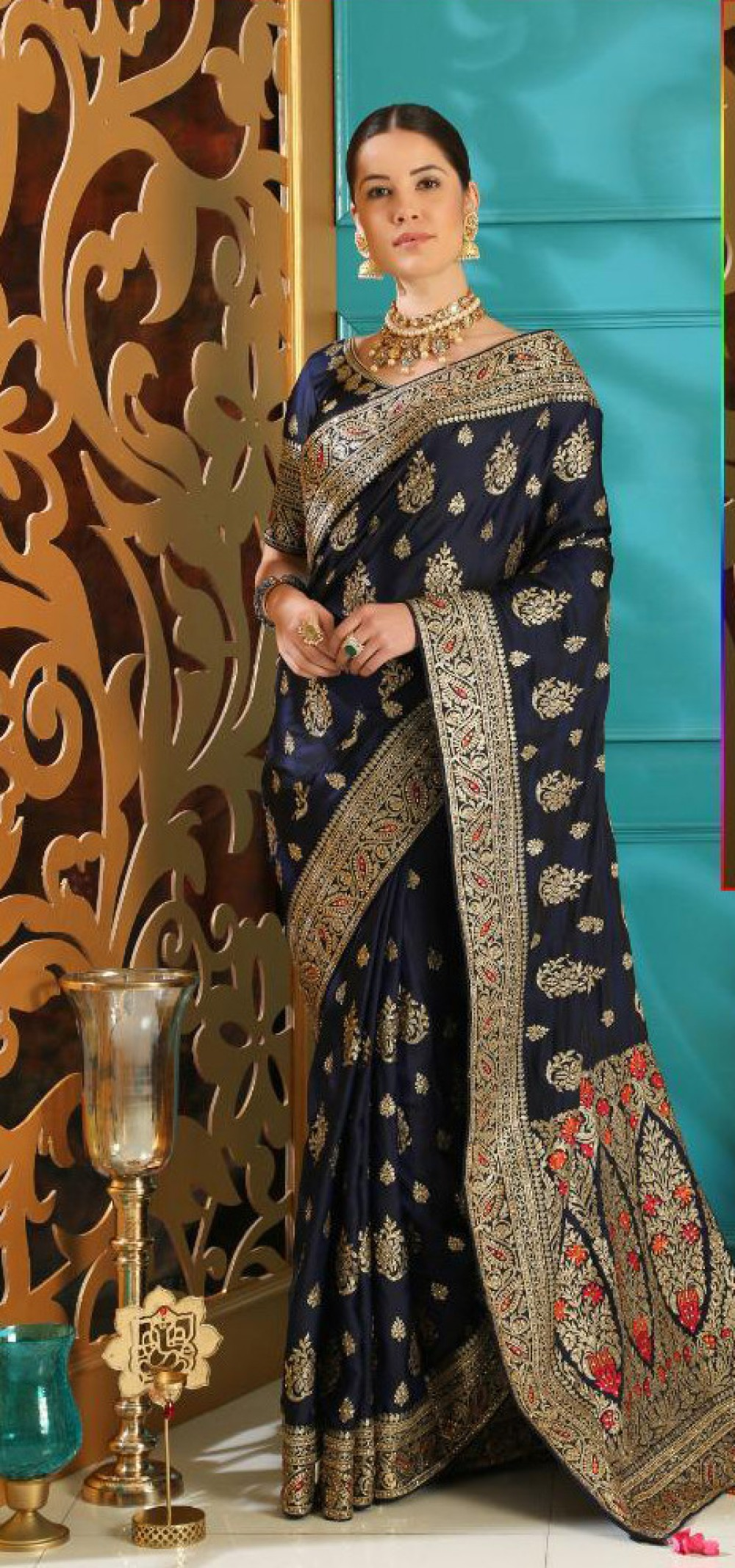 Admiring Navy Blue Colour Casual Wear Indian Silk Saree