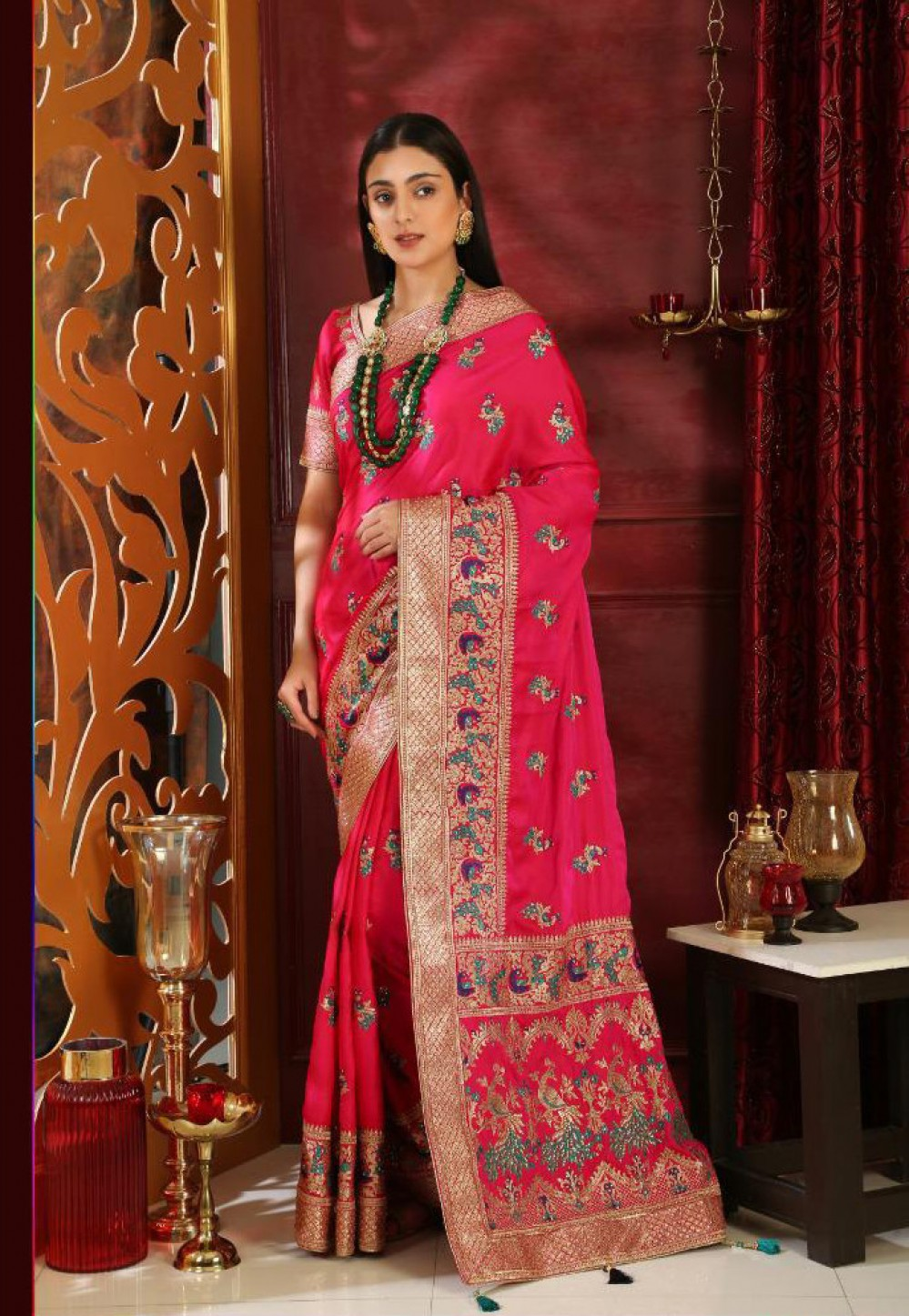 Adorable Magenta Full Embroidery Indian Silk Saree