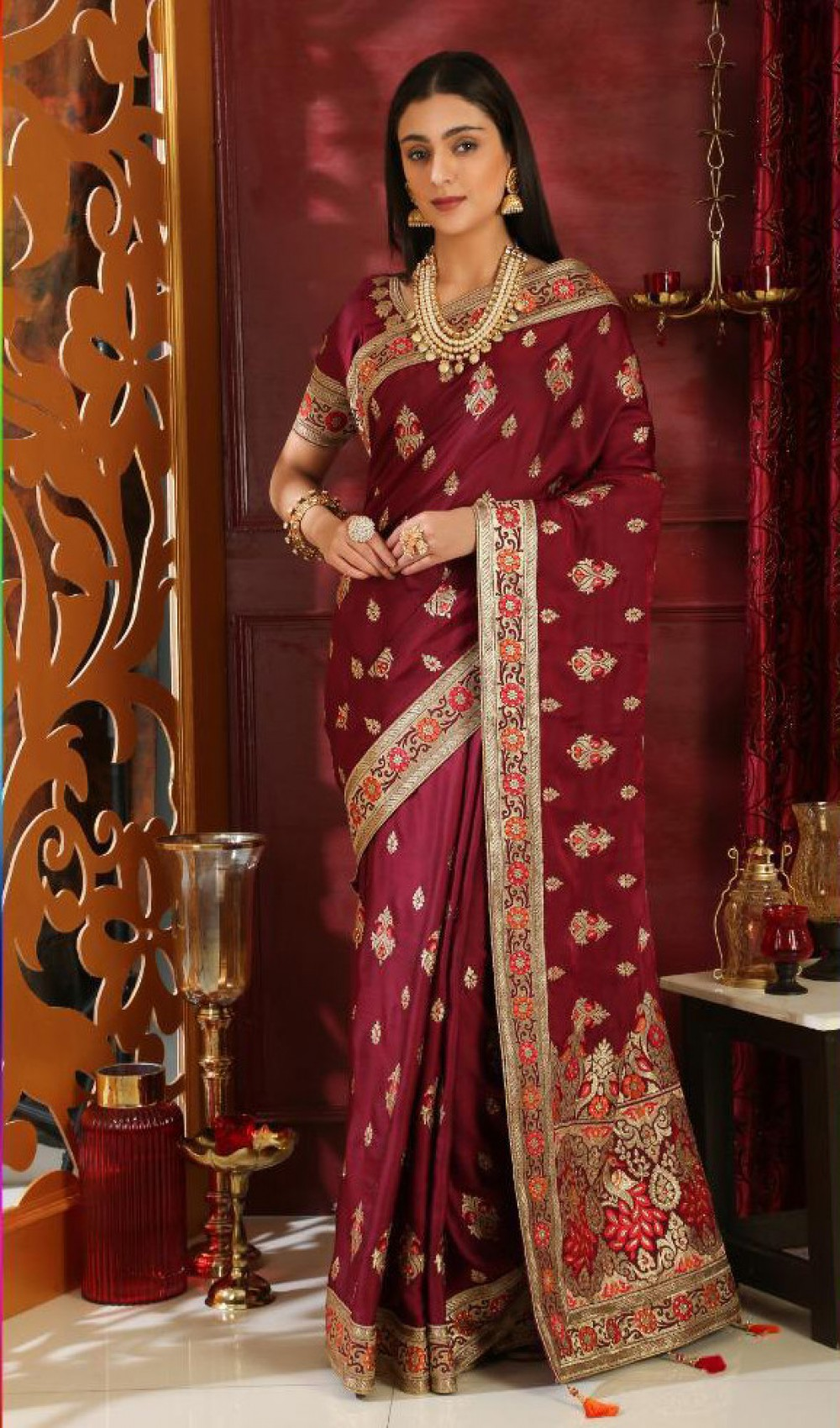 Adoring Wine Festival Wear Indian Saree
