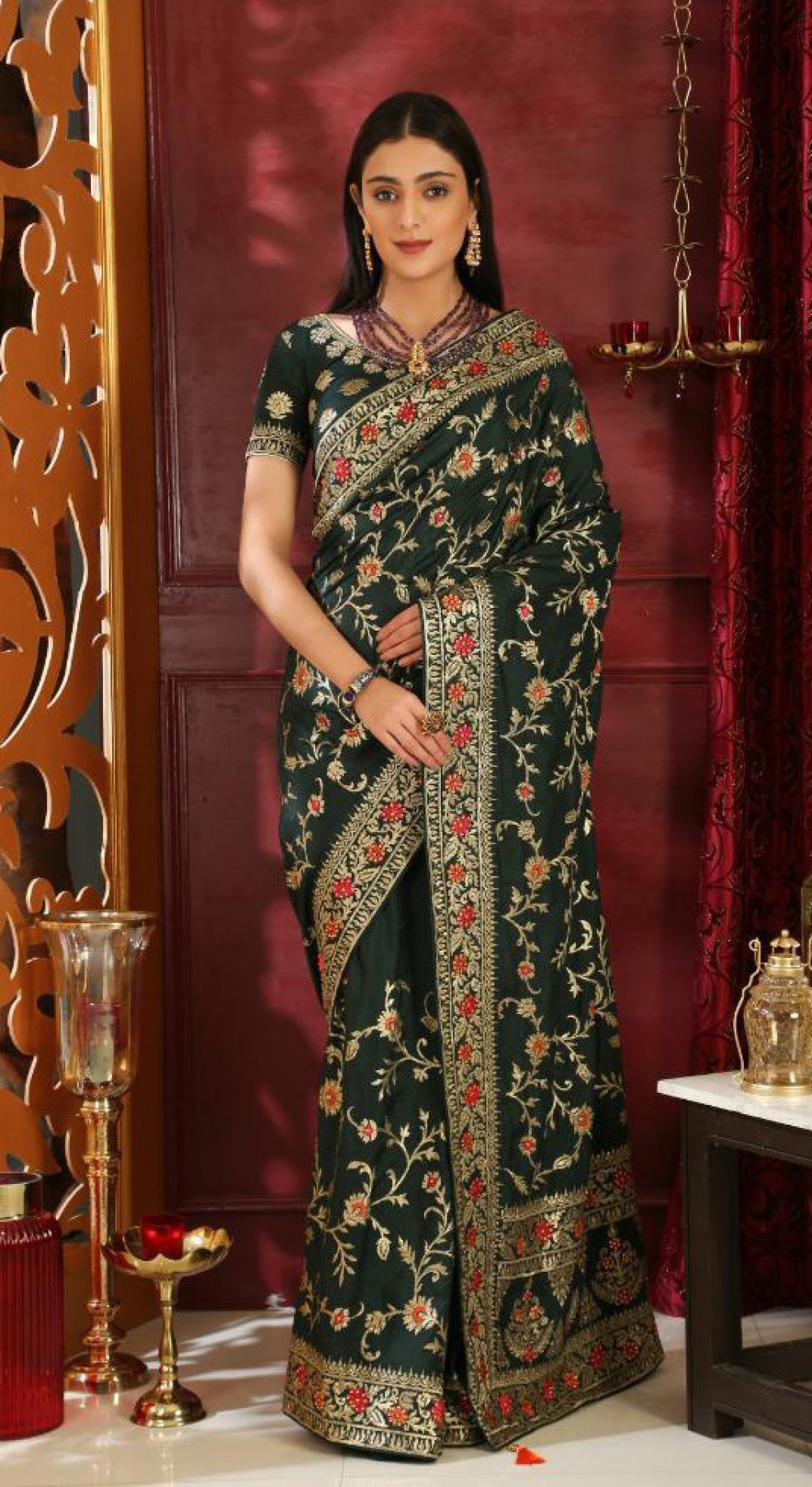 Blushing Dark Green Colour Indian Party Wear Saree