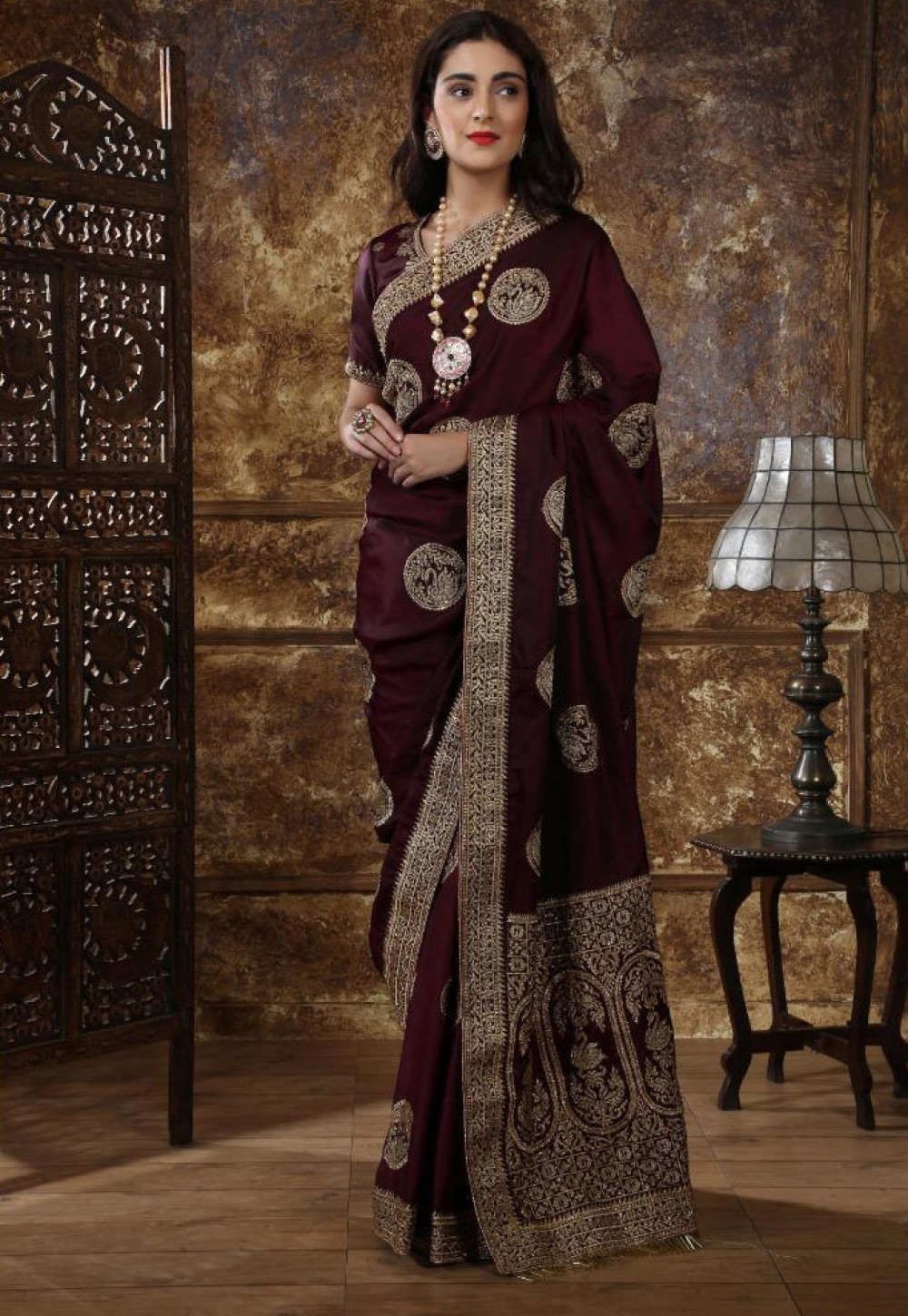 Capricious Maroon Festival Wear Indian Silk Saree