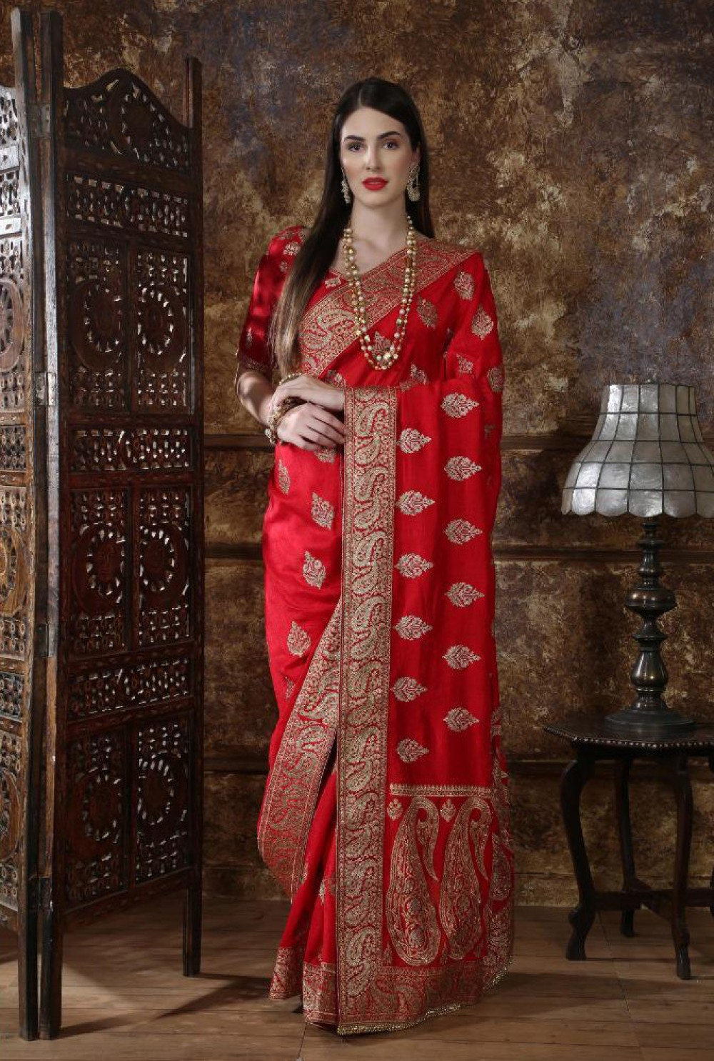Celebrity Wear Red Colour Festival Wear Indian Saree