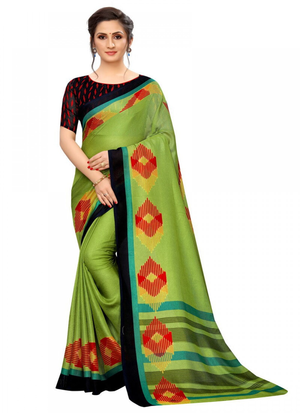 Admiring Parrot Casual Wear Printed Saree online available