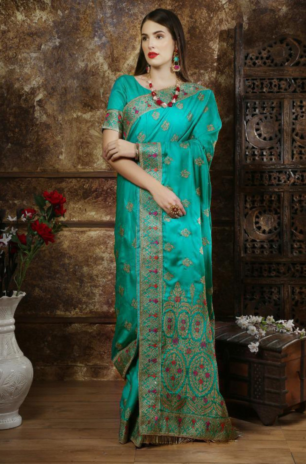 Desirable Teal Casual Wear Indian Silk Saree
