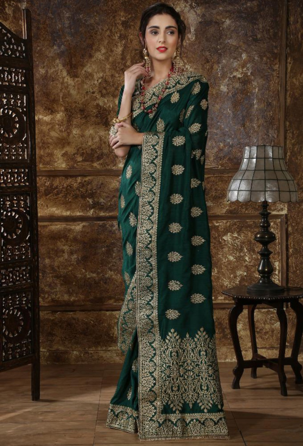 Elegant Dark Green Colour Indian Silk Saree With Stone Worked