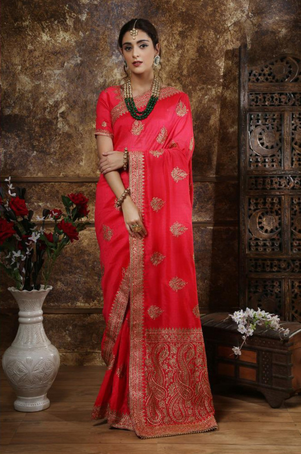 Energetic Dark Pink Colour Casual Wear Indian Silk Saree