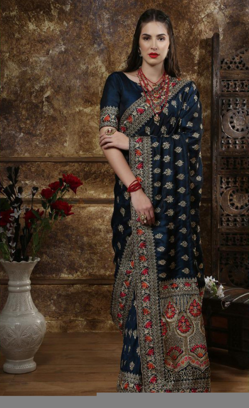 Engrossing Teal Blue Colour Indian Silk Saree