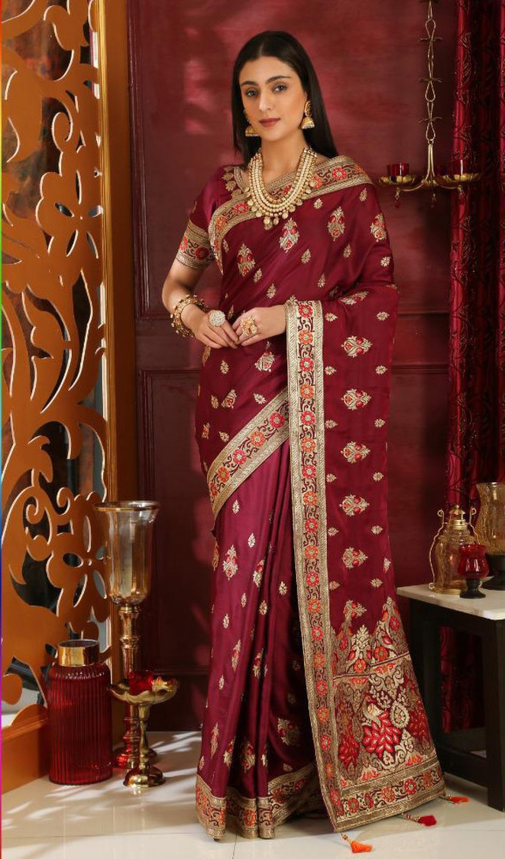 Eye catching Wine Festival Wear Indian Saree