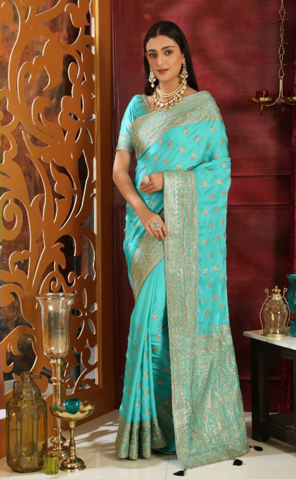 Fabulous Turquoise Casual Wear Indian Saree