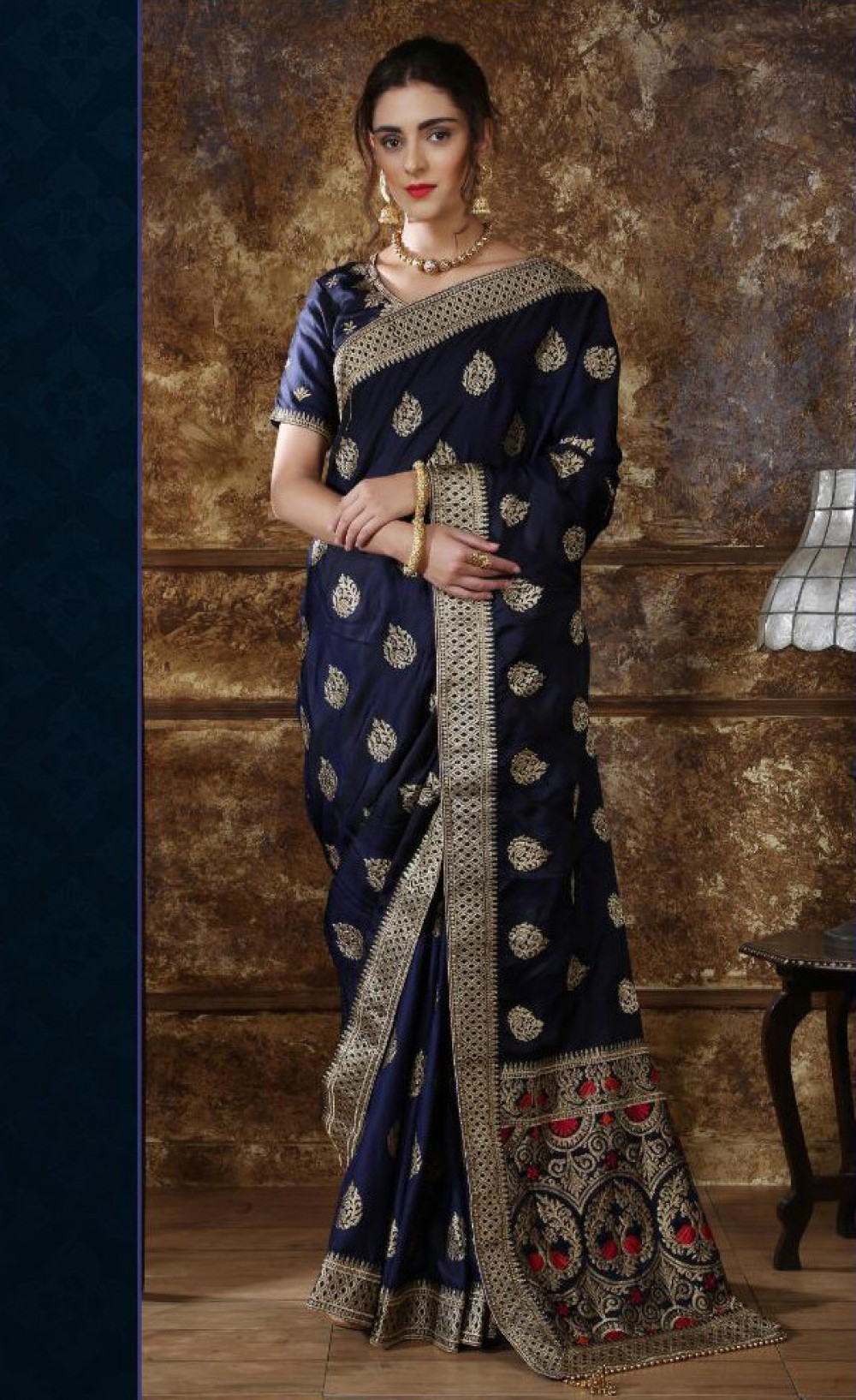 Fantastic Navy Blue Colour Casual Wear Indian Silk Saree