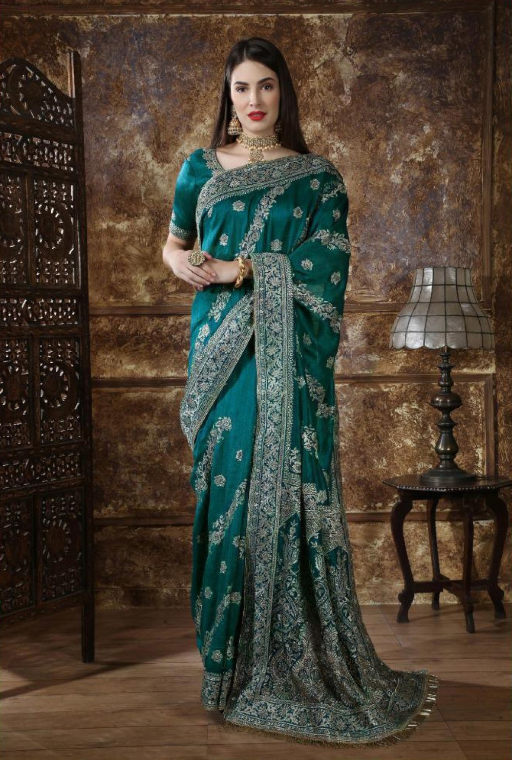 Flamboyant Teal Green Colour Indian Saree
